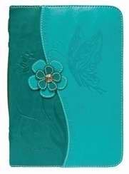 Butterfly Design Teal Blue X-large Bible Cover with Faceted Jewel Accents by Divinity Boutique (Butterfly Blue Designs)