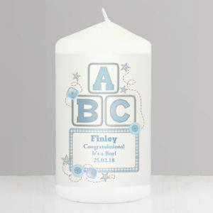 Miss Pretty London Personalisierte ABC Kerze, Blau