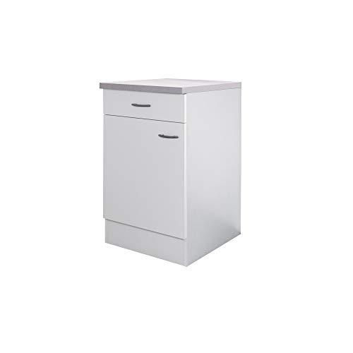Flex-Well Küchenschrank UNNA | Unterschrank | 1-türig, 1 Schublade | Breite 50 cm | Weiß