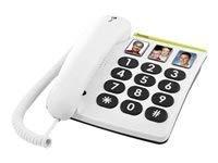 Doro PhoneEasy 331ph, Schnurgebundenes Großtastentelefon mit 3 Direktwahl-Fototasten, weiß