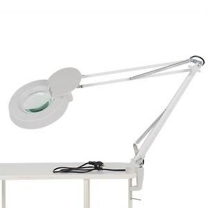 Deckey Lupa con luz Lámpara de mesa de manicura Brazo Flexible (aumento de 8 dioptrías, diámetro del vidrio 12 cm 22 w)
