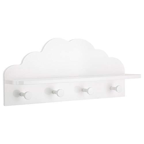 2 in 1: attaccapanni + mensola in legno per bambini - forma a nuvola - colore: bianco