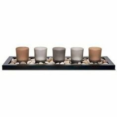 5 Piece Serenity Jewel Candle Set Glass Votives Wooden Base Tealight River Rocks NEW by BeNeLux