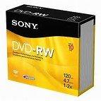 10 Pieces Sony DVD-RW (ReWritable) Single Slim Case, DMW47SS