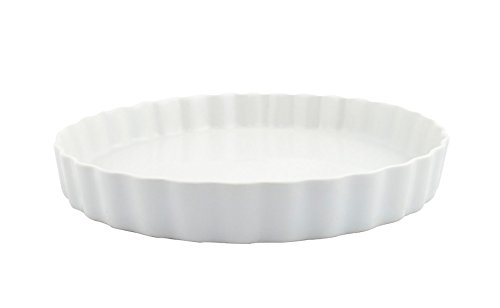 Superwhite Round Fluted Ceramic Flan Dish, Vitrified Quality, 31cm x 4cm
