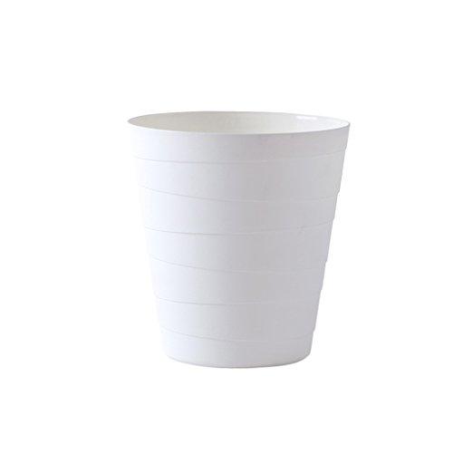LF Stores Keine Abdeckung Mülleimer, Wohnzimmer Küche Schlafzimmer Badezimmer Große einfache kreative Kunststoffkorb (weiß, grau) (Color : White) (White Wicker Mülltonne)