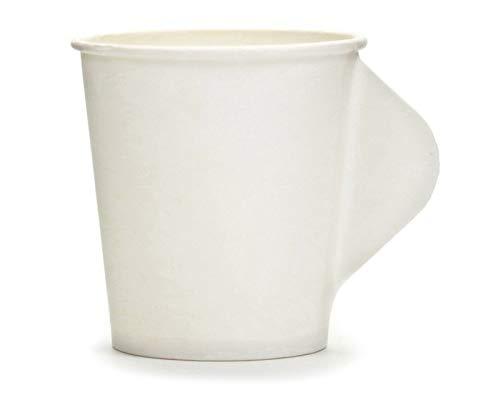 100x gobelets en carton OCTOPUS avec anse, contenance de 100 ml, gobelets pour vin chaud, gobelets en papier, gobelets jetables blancs sans motifs