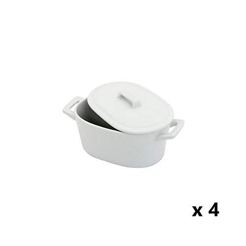 Weiß Keramik Kokotte Gerichte, Ofen auf Tisch Servieren Auflaufförmchen mit Deckel, 4-teiliges Set Oval Dishes x 4 weiß Mini Round Cocotte