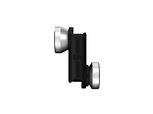 OLLOCLIP - 4-in-1 Lens for iPhone 6 / 6s / 6 Plus / 6s Plus | Fisheye, Wide-angle, 10x & 15x Macro Lens | Lightweight & Compact | For Front & Rear-Facing Cameras | iPhone Accessories - Silver/Black