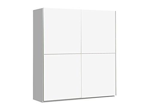 NEWFACE Schwebetürenschrank mit 2 Türen Holz Weiß Matt 170.3 x 61.2 x 190.5 cm