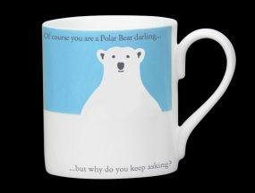 Silhouette blau Polar Bear Funny Bone China Becher-Stoke On Trent, England-I 'm Einfrieren England Bone China