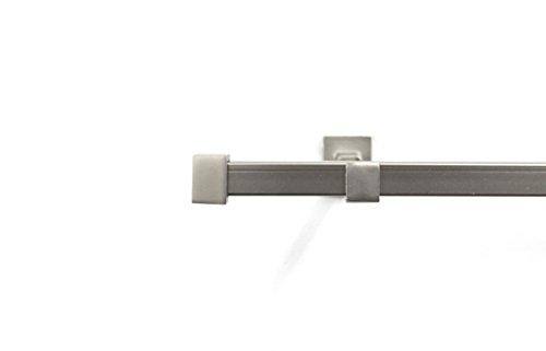 gardinenstange edelstahl matt Rollmayer quadratisch Gardinenstange 120-600cm im Silber Matt aus Metall (Saturn, 240cm Silber, 1-läufig) Wandbefestigung einfache Montage Ohne Ringe!