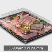 Premium Rectangle Black Food Platter Base & Clear Cover Medium (39cm x 29cm) (25) by Foodpacks Online