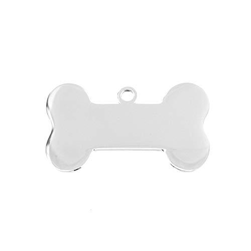 Dog ID Tag Charms Blanko Anhänger kleiner Spiegel Hund Knochen DIY Print Logo Namensanhänger Edelstahl 50 Stück Einheitsgröße 19x34 (Pfeil-freundschaft-armband)