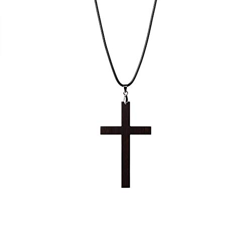 Sgfccyl Kreuz Halskette Ebenholz Kreuz Lanyard Anhänger Retro literarische Halskette Pullover Kette Student Anhänger Schmuck (größe : Rope Length: 65cm) (Ebenholz-kreuz)