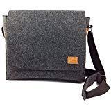 Messenger Bag Schultertasche Umhängetasche Handtasche Herren Filztasche Tasche aus Filz mit Echtleder-Applikationen für 13