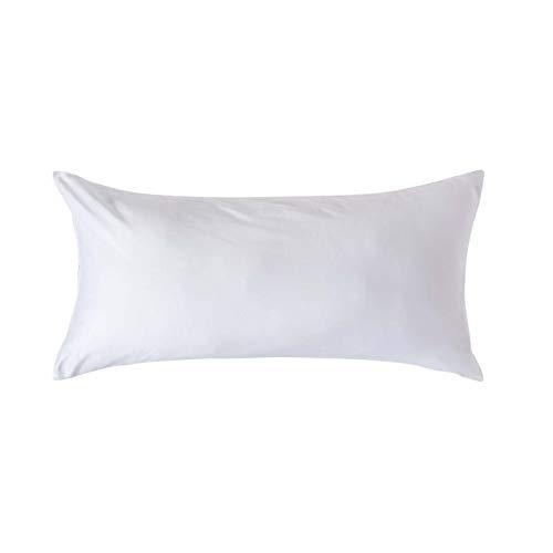 Homescapes Kissenbezug 40 x 80 cm - 100% Bio-Baumwolle Fadendichte 400 Perkal - Kissenhülle mit Reißverschluss - weiß -