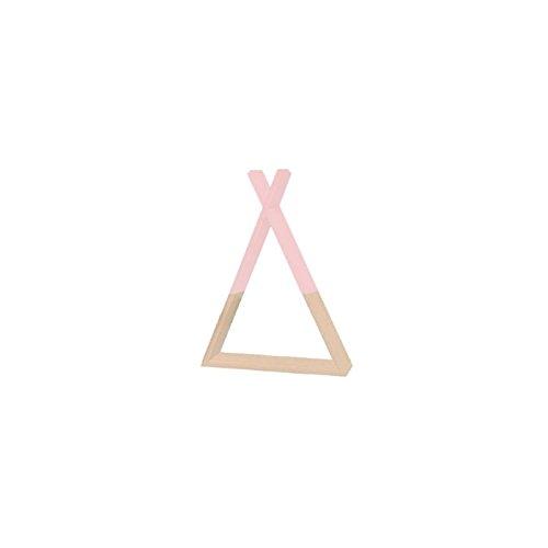 Mensola a forma di teepee per cameretta dei bambini – colore: rosa e legno naturale