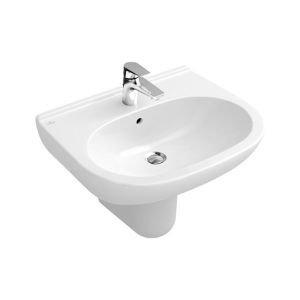 Villeroy & Boch Waschtisch ohne Novo 516055 550x450mm mittl Hl. durchgest mit Ül. weiß, 51605501
