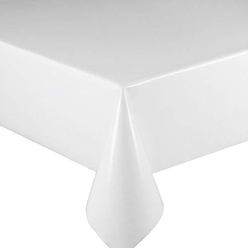 DecoHomeTextil Lacktischdecke Wachstuch Wachstischdecke Tischdecke Gartentischdecke Weiß Breite & Länge wählbar 130 x 150 cm Eckig abwaschbar Lebensmittelecht