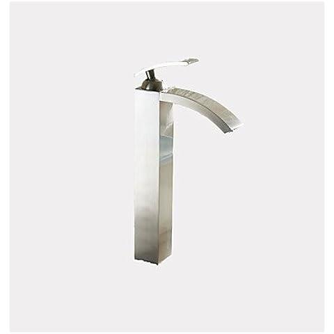 PJSKJZQ de altura cascada sola manija del surtidor recipiente de baño grifo del fregadero grifo de níquel