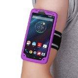MoKo Armband Brassard de Sport en Silicone pour Motorola Droid Turbo XT1254 5.2 Pouces Android Smartphone - Léger, Flexible, Protection bien équilibrée, Prise Casque Parfait, VIOLET