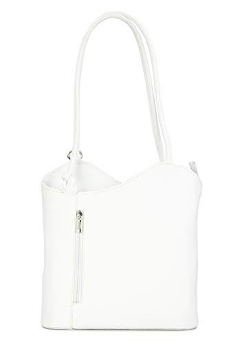 Belli ital. Ledertasche Backpack 2in1 Damen Rucksack Leder Handtasche Schultertasche - Freie Farbwahl - 28x28x8 cm (B x H x T) (Weiß)