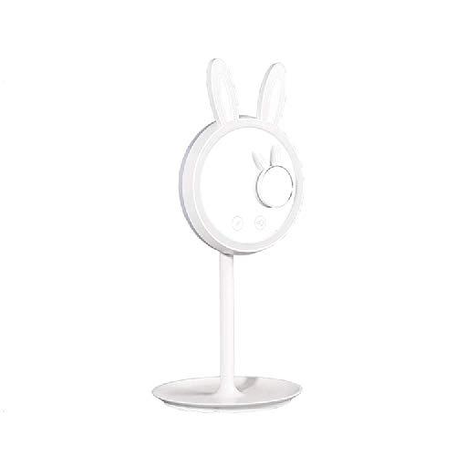 XIAHE Creative Lapin Mignon LED Maquillage Miroir De Bureau Lampe Dressing Miroir De Stockage Multifonctionnel Miroir De Charge Miroir Pliant Multifonctionnel (Couleur : Blanc)