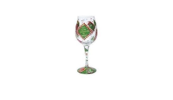 "Lolita Love my wine /""Holiday Whine/"" Holiday Wine glass New in box handpainted"