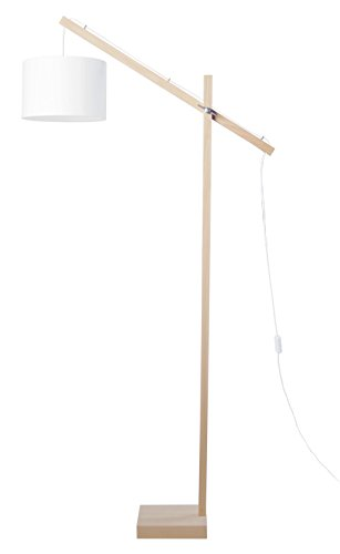 Tosel 95366 Lampadaire Liseuse 1 Lumière, Bois, E27, 40 W, Blanc, 80 x 180 cm