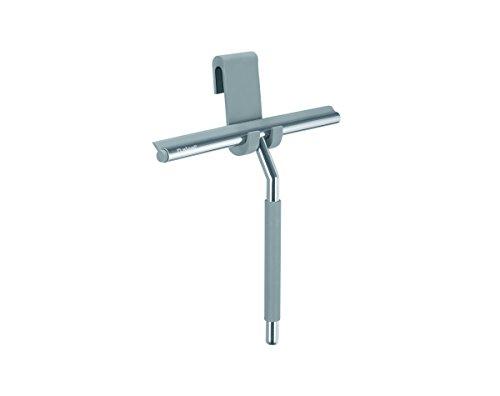 Nicol 2660300 Kai Duschabzieher aus Edelstahl glänzend verchromt, mit  gummiertem Griff und Silikon-Aufbewahrungshaken für Duschwand