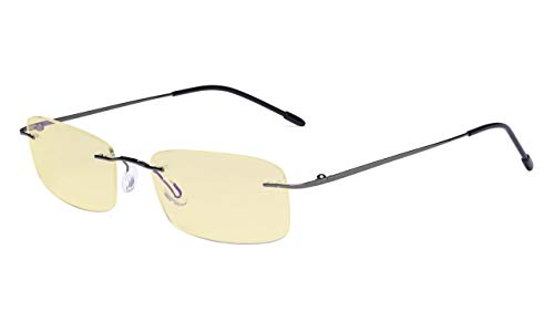 Eyekepper Computer-Lesebrille,Blaulichtblocker,-Flexible randlose Brille Damen und Herren,Gelb getönt,METALLISCH BLAUGRAU+1.25