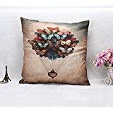 JudyArtOnlineStore Cotton Linen Decorative Throw Pillow Case Cushion Cover Butterfly hot air balloon 18 X 18 inches (Butterfly Balloon Hot Air)