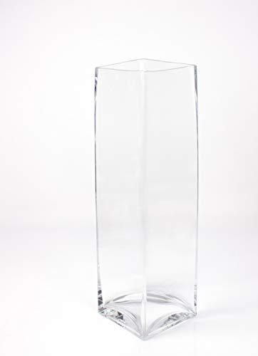 INNA Glas Kastenvase/Säulenvase Jack aus Glas, klar, 14 x 14 x 49 cm - Bodenvase/Blumenvase