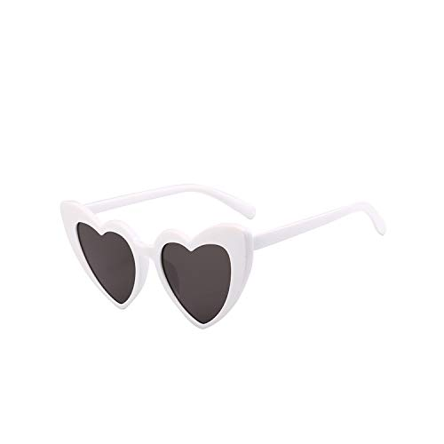 Jeewly Klassische Sportsonnenbrille, Heart Sunglasses Women Designer Cat Eye Sun Glasses Retro Love Heart Shaped Glasses Ladies Shopping Sunglass UV400 Wgray