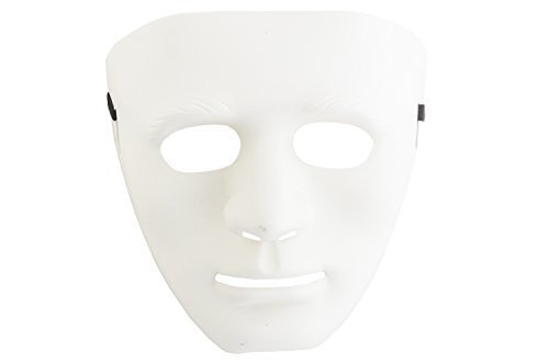 Shenky Masken für Party Halloween Fasching Fussball Länder Guy Fawkes (one-size, Neutral weiß)