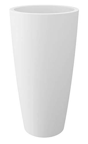 HOWE-Deko Blumentopf/Pflanztopf, Höhe 85 cm, Ø 38, weiß, matt, 18 l Inhalt, mit herausnehmbarem Pflanz-Einsatz, für Innen und Außen, aus hochwertigem Polyethylen