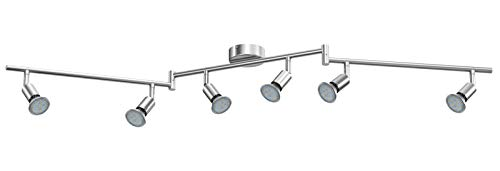 6 Leuchten (Reteck LED Deckenleuchte, 6 Flammig inkl. 6 x 3.5W GU10 LED Lampen, 380LM, Warmweiß, Schwenkbar, Nicht Dimmbar, LED Deckenlampe, LED Deckenspot, Deckenstrahler)