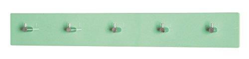 4er Garderobenleisten Set in mintgrün; 5 Garderobenhaken verchromt; Maße: 57x5x8