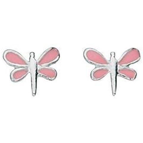 925plata esmaltado libélula studs en rosa/caja de regalo libre S35