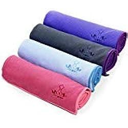 Heathyoga toalla antideslizante de yoga de alta calidad, revestimiento de silicona antideslizante, diseño de bolsillo de las 4 esquinas, lavable a máquina, super absorbente. (gris)
