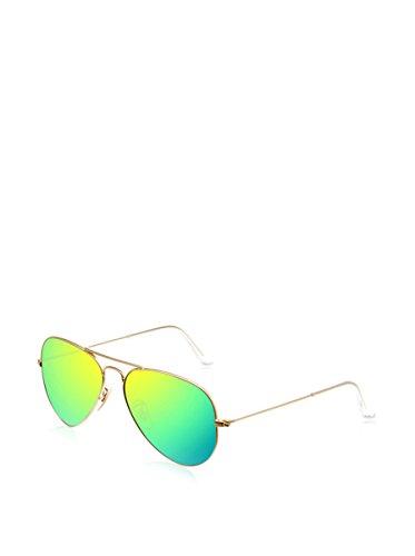 Ray Ban Unisex Sonnenbrille Aviator, Gr. Large (Herstellergröße: 58), Gold (gold 112/19, Gläser: kristall grün, gespiegelt grün)