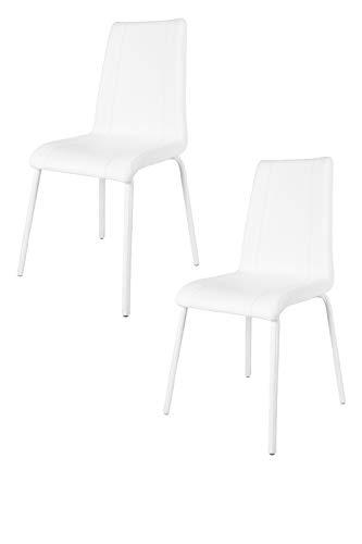 Tommychairs - Set 2 sedie Parigi per Cucina e Sala da Pranzo, con scocca in Multistrato Imbottita e Rivestita in Ecopelle Bianca e Basamento a Slitta in Tubo Rettangolare Cromato ad Alta Resistenza