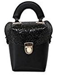 Tradico® Vertical Lock Women PU Leather Mini Handbag Bling Shoulder Phone Bag(Black)