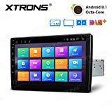 XTRONS 10,1' Touch Screen Single Din Autoradio mit Android 8.1 Octa Core Lenkradsteuer 4G Bluetooth5.0 1Din 2GB RAM 32GB ROM DAB & OBD2 TPMS Funktion 2.5D Gebogener Bildschirm (TM100L)