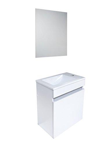Starbath - set mobile da bagno sospeso oslo 41 x 25 cm mdf bianco + lavabo resina + specchio. piccolo mobile bagno