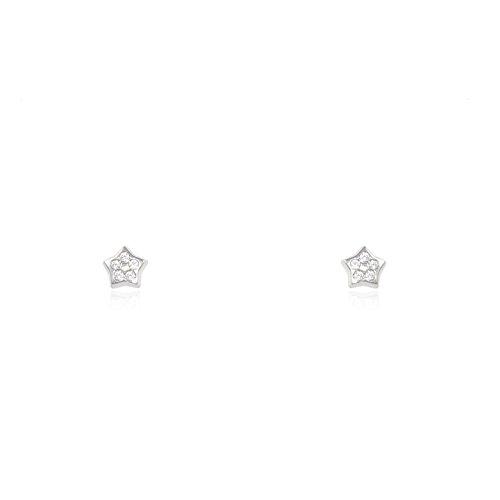 Orecchini per bambini stella 3.5 mm - oro bianco 18K (750)