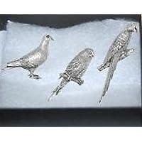 In confezione regalo, Set da 3, Pewter Pin badge-assicurazione circolare Parrot piccioni e uccelli