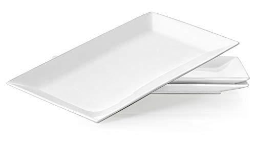 Dowan Porzellan Servierplatten/Speiseteller-Set - 3 Packungen, Weiß & Eckig