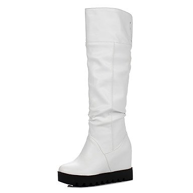 RTRY Scarpe Donna Similpelle Autunno Inverno Slouch Stivali Stivali Punta Tonda Ginocchio Alti Stivali Fibbia Per Abbigliamento Casual Bianco Nero US6.5-7 / EU37 / UK4.5-5 / CN37